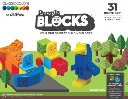 People Blocks 31-Piece Set – Classic Colors • Ages 1 year+ • $59.99