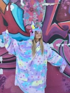 @WeWearCute's Emma wears Moosh-Moosh Hooded Blanket