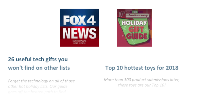KidStuff PR clients featured in the FOX Holiday Gift Guide