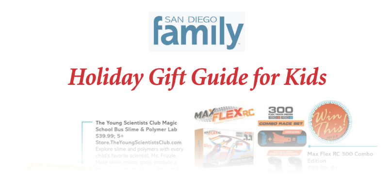 KidStuff PR clients featured in the holiday issue of San Diego Family Magazine