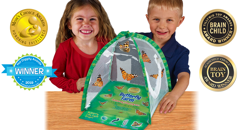 Insect Lore's Butterfly Farm Captures Spring 2019 Nods From Parents' Choice, Oppenheim Gold, The National Parenting Center, Academics' Choice, Hot Diggity, Tillywig & Mom's Choice Awards!