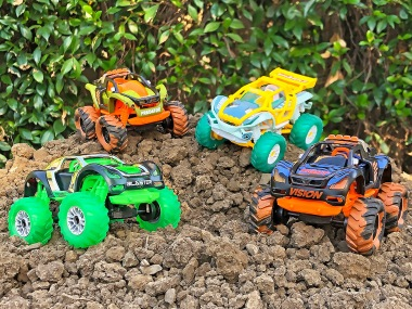 Jurassic Beasts, Team Sharkz and Space Invaders Turbo Monster Trucks ($19.99)