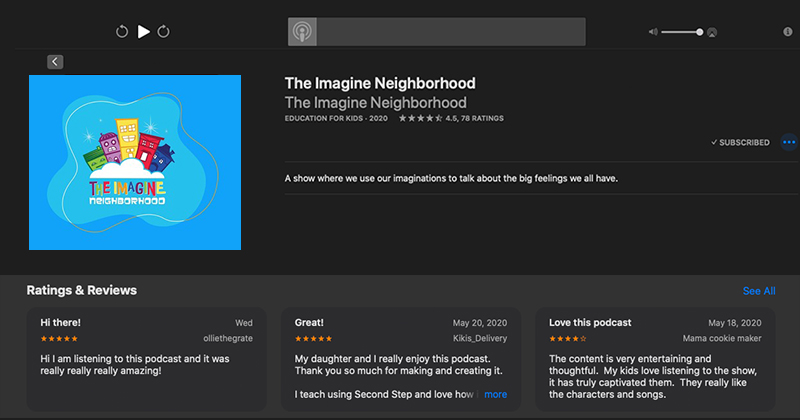THE IMAGINE NEIGHBORHOOD TOPS APPLE PODCASTS' NEW AND NOTEWORTHY LIST