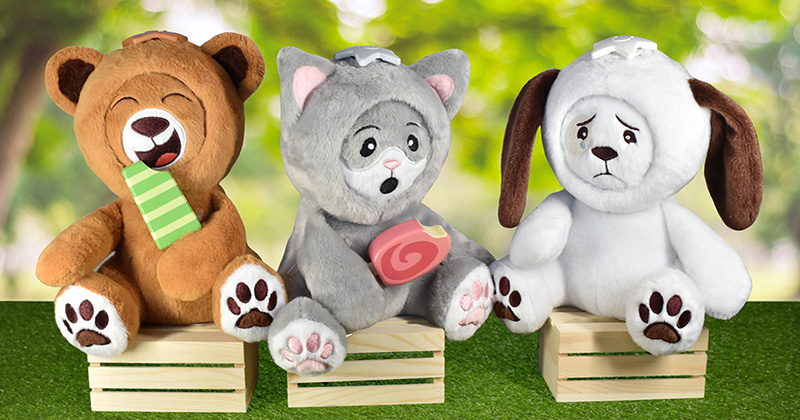 Introducing Whatsitsface® Puppy Dog, Kitty Cat & Teddy Bear With Six Changeable Facial Expressions That Expand A Child's EQ