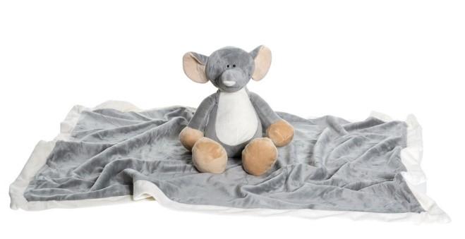 Large elephant blanket set with plush