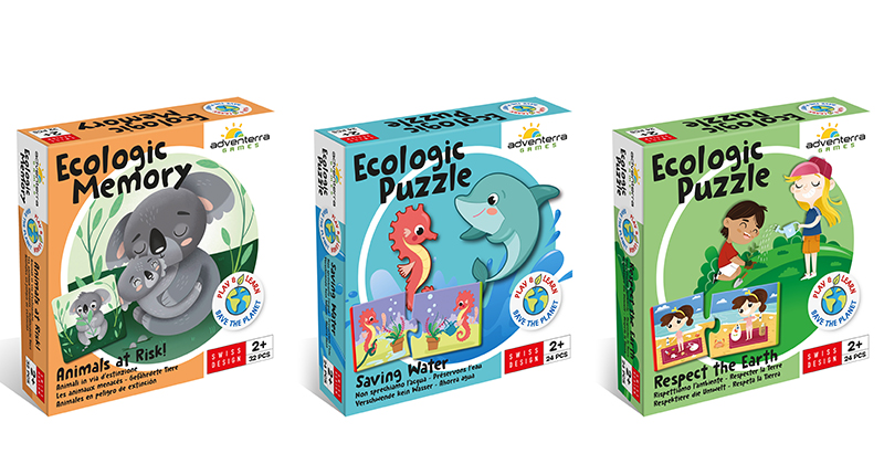 Three Enticing Ecological Puzzles and Memory Games Introduce Today's Toddlers to How to Save Our Animals, Water, & Earth