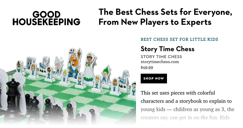 Story Time Chess featured in Good Housekeeping