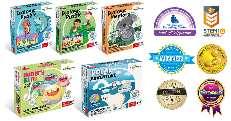 Puzzles & Simple Games To Introduce Environmental Concepts Are Applauded By The National Parenting Center, The Toy Insider™, Hot Diggity & Mom's Choice