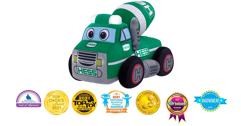 CEMENT MIXER PLUSH LAYS THE FOUNDATION FOR DAYTIME & NIGHTIME FUN TOUTS TOY INDUSTRY PROS—Squeeze-Activated Hess Plush Truck Has Accolades Rolling In From Mom's Choice, Nat'l Parenting Products Awards, The Nat'l Parenting Center & Others