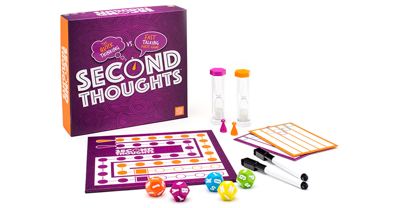 HAVING SECOND THOUGHTS ABOUT HOSTING GAME NIGHT? SCORE A WIN WITH THIS HIGHSPEED PARTY GAME Sold Exclusively At Target, Each Round Of Second Thoughts™ Presses Players To Be Witty And Wise But Not Take Too Long (As Time Is Not On Their Side)!